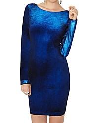 terciopelo de las mujeres abrir de nuevo vestido de fiesta de manga larga