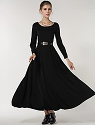 Women's Solid Black Dress , Vintage/Casual/Maxi Round Neck Long Sleeve