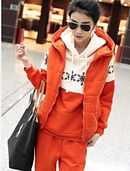 Yisiber Women's New Thickening Vest Hoodie Suit Three-piece suit
