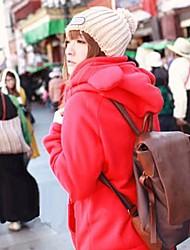 estilo bonito urso com capuz casaco vermelho quente