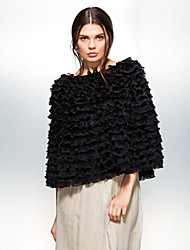 Fur Wraps / Hoods & Ponchos Ponchos Feather/Fur Black / White Party/Evening / Casual