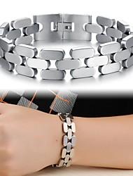 Homem fresco textura pulseira de aço titânio