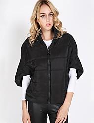 Women's Batwing Short Sleeve Zip Up Jacket Outerwear