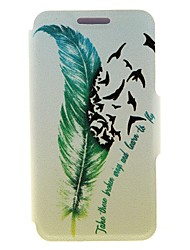 For Nokia Case Card Holder / Flip Case Full Body Case Feathers Hard PU Leather Nokia Nokia Lumia 820