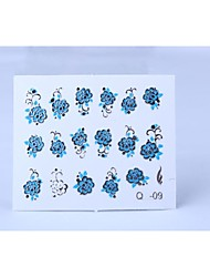 2PCS 3D Relief Blue Flower Style Nail Sticker(Assorted Colors)