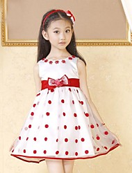 Girl's Red Dot Flower Glass Party Pageant Bridesmaid Kids Clothes Princess Dresses
