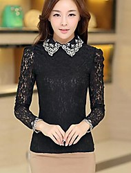 lapela blusa de manga comprida de renda das mulheres (mais cores)