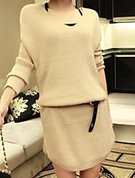 lilijia moda malha vestido das mulheres