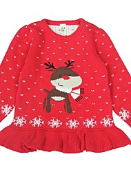 Red & Pink Cute Reindeer Snowflake Sweater Kids Christmas Costume