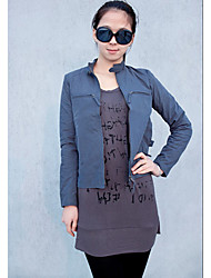 Stand Collar Zipper Long Sleeve Coat Dark Blue