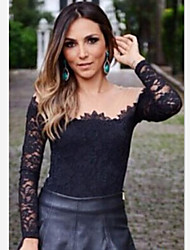 Women's Sexy/Party Off-the-shoulder Long Sleeve T-Shirts (Chiffon/Lace)