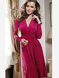 AUTUMN   Women's V-Neck Dresses , Cotton Sexy/Casual/Work Long Sleeve