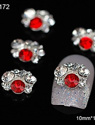 10pcs Rhinestone Group Glitter Red DIY Alloy Accessories Nail Art Decoration