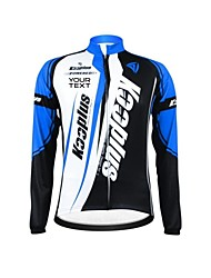 KOOPLUS Unisex Winter Customized Cycling Clothing Long Sleeve Thermal Fleece Cycling Jersey--Blue+Black