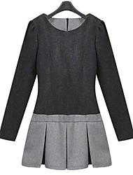 Women's Casual/Daily Dress,Color Block Mini Long Sleeve Gray Spring / Fall / Winter