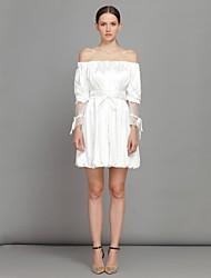 moda strapless doce vestido branco das mulheres