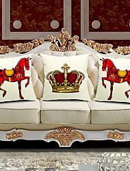 conjunto de três cavalos e coroa de linho do algodão capa / travesseiro decorativo