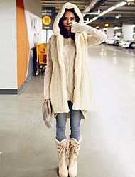 Fur Coats Fashion Long Sleeve Hooded Faux Fur Coat