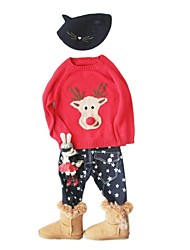 Red Reindeer Sweater Kids Christmas Costume(Style A Big Nose)