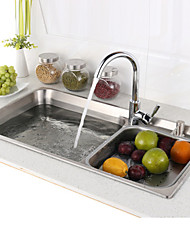 Contemporary L29.5 Inch Double Bowl 304 Stainless Steel Kitchen Sink Set with Drain Rack