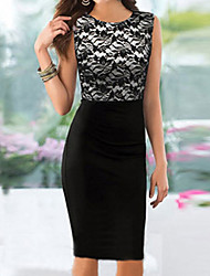 Women's Sleeveless Lace Bodycon Slim Dresses