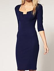 TS Asymmetrical Dress , Polyester Above Knee ½ Length Sleeve