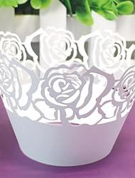 corte a laser 12pcs subiu papel queque invólucro baking bolo copos wraps