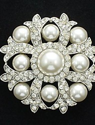 Cute Clear Rhinestone Imitation Pearl Brooch Broach Pin for Bridal Wedding Party Prom