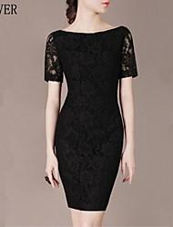 Women's Black Dress , Bodycon/Lace Short Sleeve