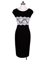 Women's Lace Black Dress , Vintage/Sexy/Bodycon/Casual/Lace/Party/Work Round Neck Sleeveless