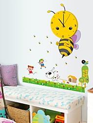 Wall Clock Stickers Wall Decals, Cartoon Bee PVC Wall Stickers