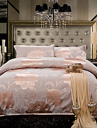 Floral Duvet Cover Sets 4 Piece Cotton Luxury Jacquard Cotton Queen King 1pc Duvet Cover 2pcs Shams 1pc Flat Sheet