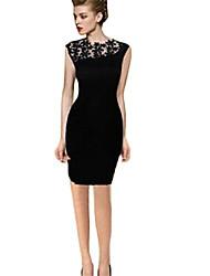 SSMN Women's Sloping Shoulder Lace Hollow Out Dress