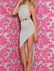 Women's Solid Blue/Gray Dress , Sexy/Bodycon Halter Sleeveless