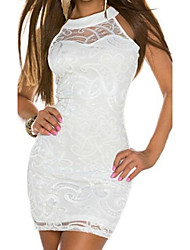 Women's Solid/Lace White Dress , Sexy/Bodycon Deep V Sleeveless