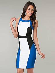 Girls Night Women's Color Block Blue Dresses , Sexy / Casual / Party Mid Rise Sleeveless