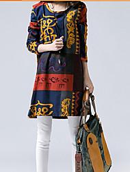 d&impresión floral vestido de corte holgado con capucha m de la mujer
