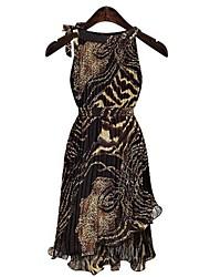 Women's Sleeveless Irregular Design Leopard Maxi Dresses