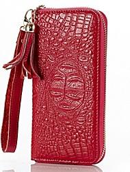 Women 's Crocodile Genuine Leather Wallets Day Clutch Purse Wristlets