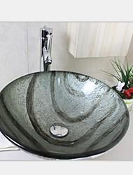silvertempered раковина стеклянный сосуд с императором кран набора