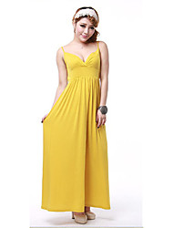Korean Pure Color All-match V-collar Long Dress Yellow (High Quality)