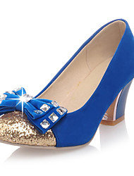 Suede/Sequins Women's Chunky Heel Pumps with Bowknot Shoes(More Colors)