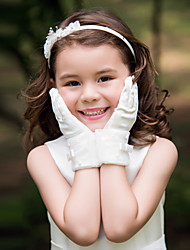 Wrist Length Fingertips Glove Satin Flower Girl Gloves Spring Summer Fall Winter