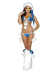 Frauenweihnachtskostüm sexy blauen Bikini mit niedlichen Pompon Set