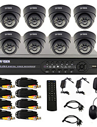 8 Channel One-Touch Online CCTV DVR System(8 Indoor Dome camera)