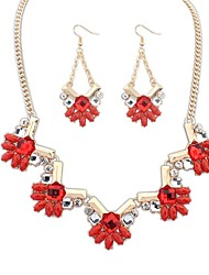 Women's Clearance Florals Geometric Cluster Bib Statement Necklace Earrings Set