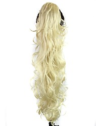 Claw Clip Synthetic 28 Inch Blonde Long Curly Ponytail