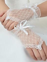 Wrist Length Fingerless Glove Lace Bridal Gloves