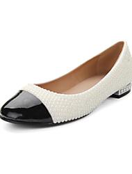 sapatos femininos rodada toe flats de couro liso calcanhar sapatos