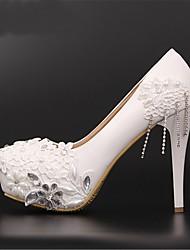 Women's Spring Summer Fall Winter Platform Leatherette Wedding Stiletto Heel Platform Rhinestone Applique Red White